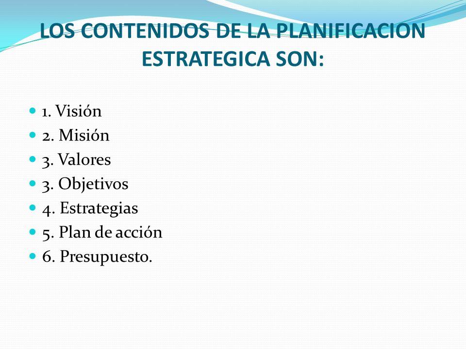 LOS CONTENIDOS DE LA PLANIFICACION ESTRATEGICA SON: 1. Visión 2. Misión 3. Valores 3. Objetivos 4. Estrategias 5. Plan de acción 6. Presupuesto.