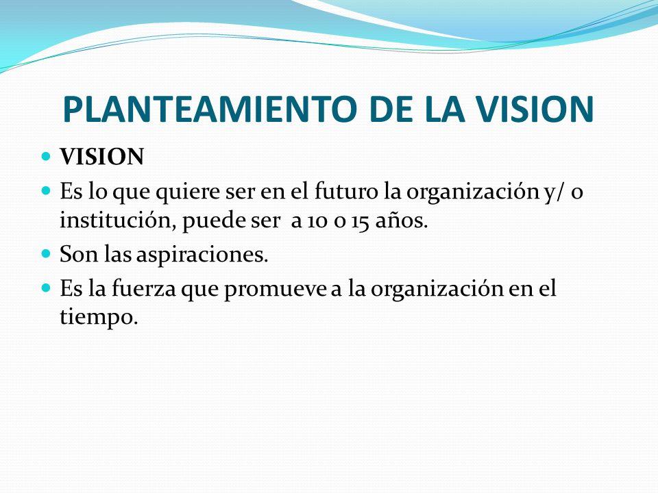 PLANTEAMIENTO DE LA VISION VISION Es lo que quiere ser en el futuro la organización y/ o institución, puede ser a 10 o 15 años. Son las aspiraciones.