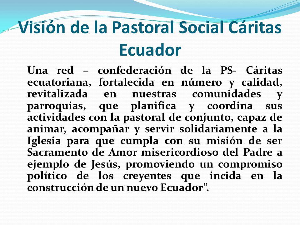 Visión de la Pastoral Social Cáritas Ecuador Una red – confederación de la PS- Cáritas ecuatoriana, fortalecida en número y calidad, revitalizada en n