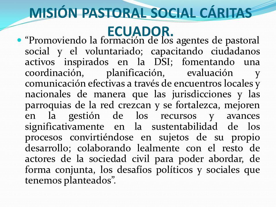 MISIÓN PASTORAL SOCIAL CÁRITAS ECUADOR. Promoviendo la formación de los agentes de pastoral social y el voluntariado; capacitando ciudadanos activos i