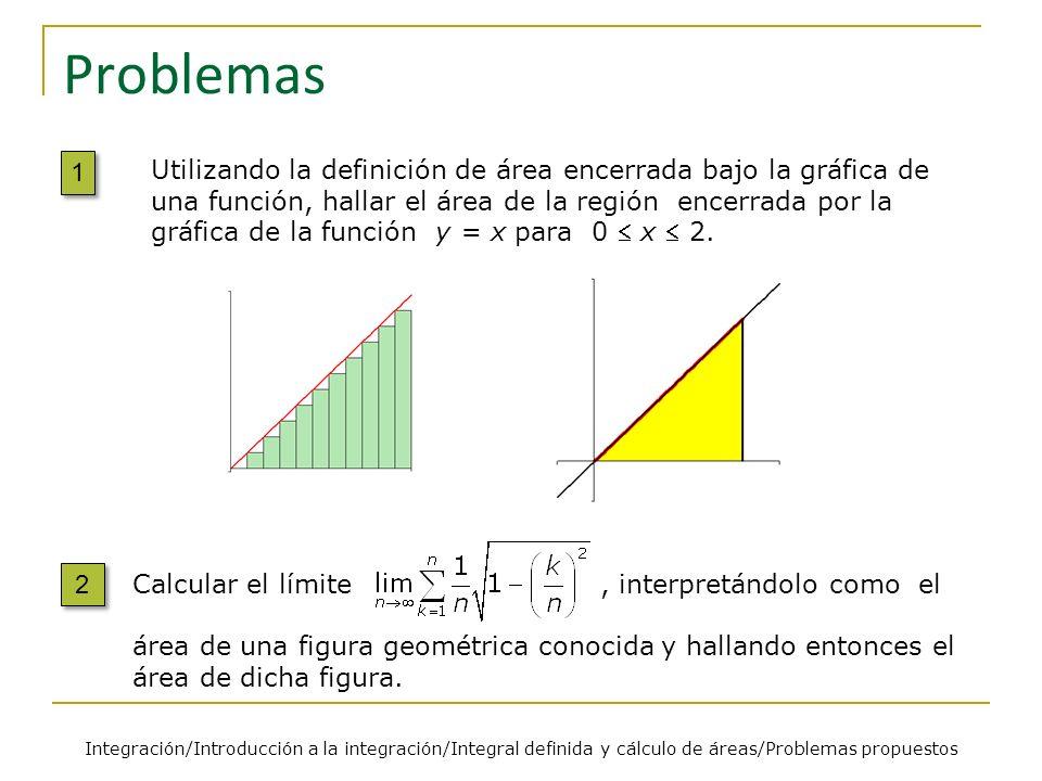 Problemas Integración/Introducción a la integración/Integral definida y cálculo de áreas/Problemas propuestos 1 1 Utilizando la definición de área enc