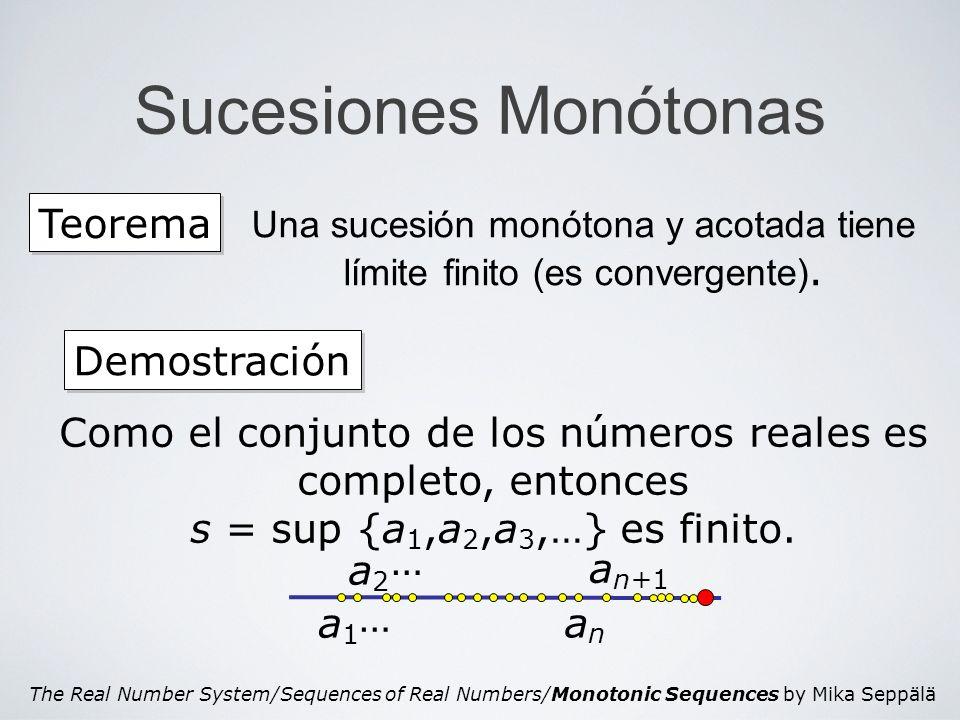 The Real Number System/Sequences of Real Numbers/Monotonic Sequences by Mika Seppälä Sucesiones Monótonas Teorema Una sucesión monótona y acotada tien