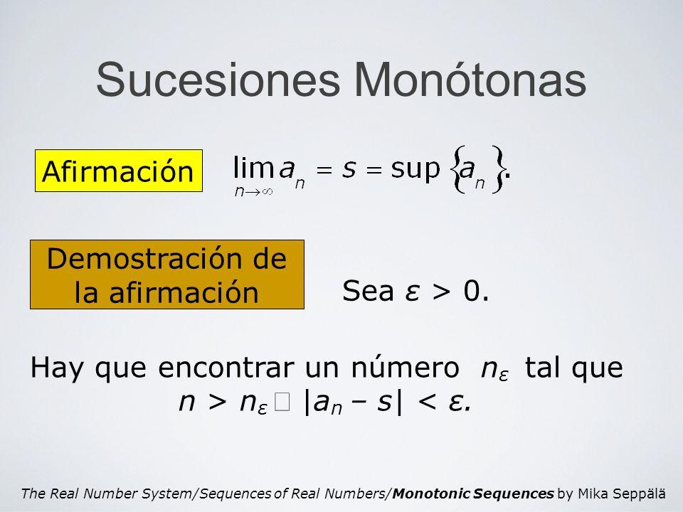 The Real Number System/Sequences of Real Numbers/Monotonic Sequences by Mika Seppälä Sucesiones Monótonas Afirmación Demostración de la afirmación Sea