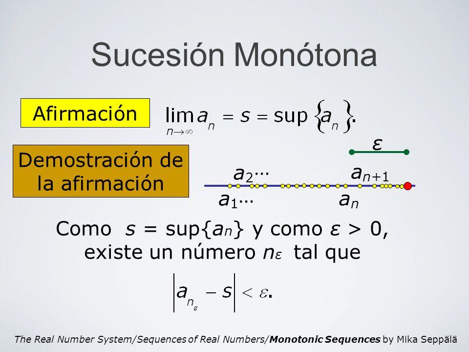 The Real Number System/Sequences of Real Numbers/Monotonic Sequences by Mika Seppälä Sucesión Monótona Demostración de la afirmación Afirmación ε a1a1