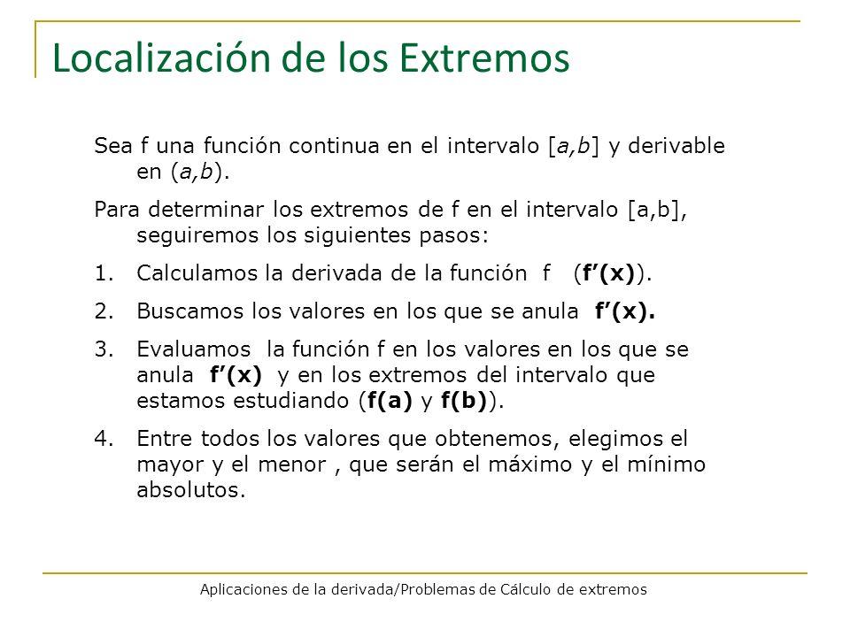Localización de los Extremos Sea f una función continua en el intervalo [a,b] y derivable en (a,b). Para determinar los extremos de f en el intervalo