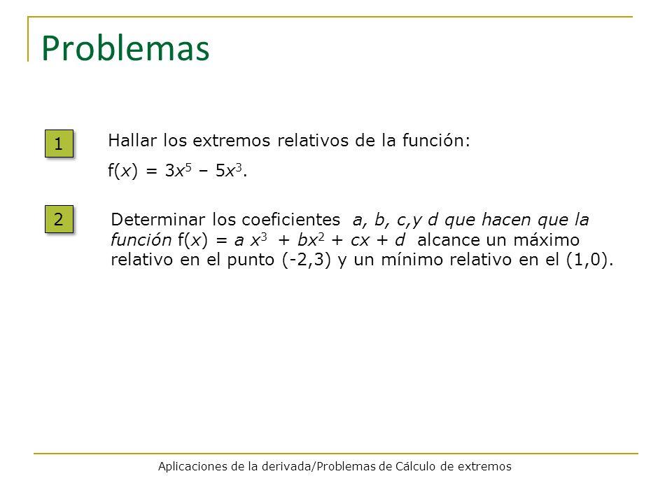 Problemas 1 1 Hallar los extremos relativos de la función: f(x) = 3x 5 – 5x 3. Aplicaciones de la derivada/Problemas de Cálculo de extremos 2 2 Determ