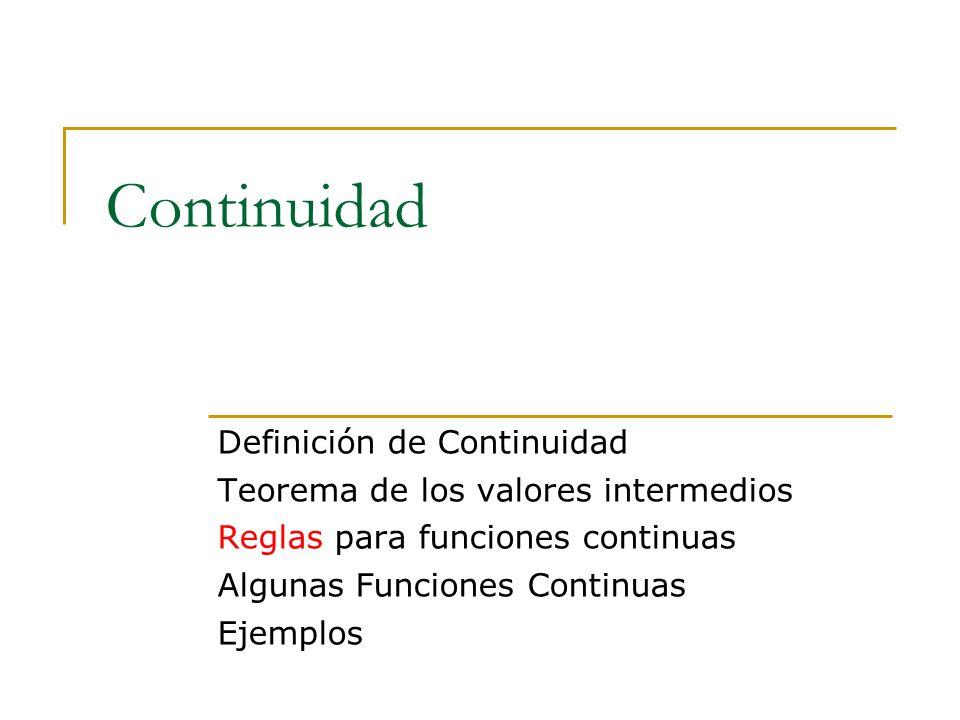 Continuidad Definición de Continuidad Teorema de los valores intermedios Reglas para funciones continuas Algunas Funciones Continuas Ejemplos