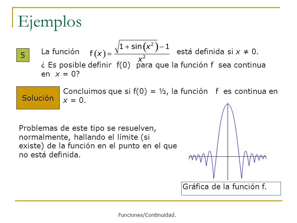 Ejemplos 5 Solución Concluimos que si f(0) = ½, la función f es continua en x = 0. Gráfica de la función f. Problemas de este tipo se resuelven, norma