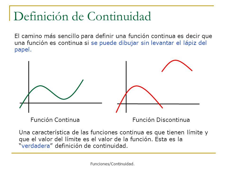 Funciones Continuas Definición Una función que no es continua (en un punto o en un intervalo del dominio de definición de la función) se dice que es discontinua.