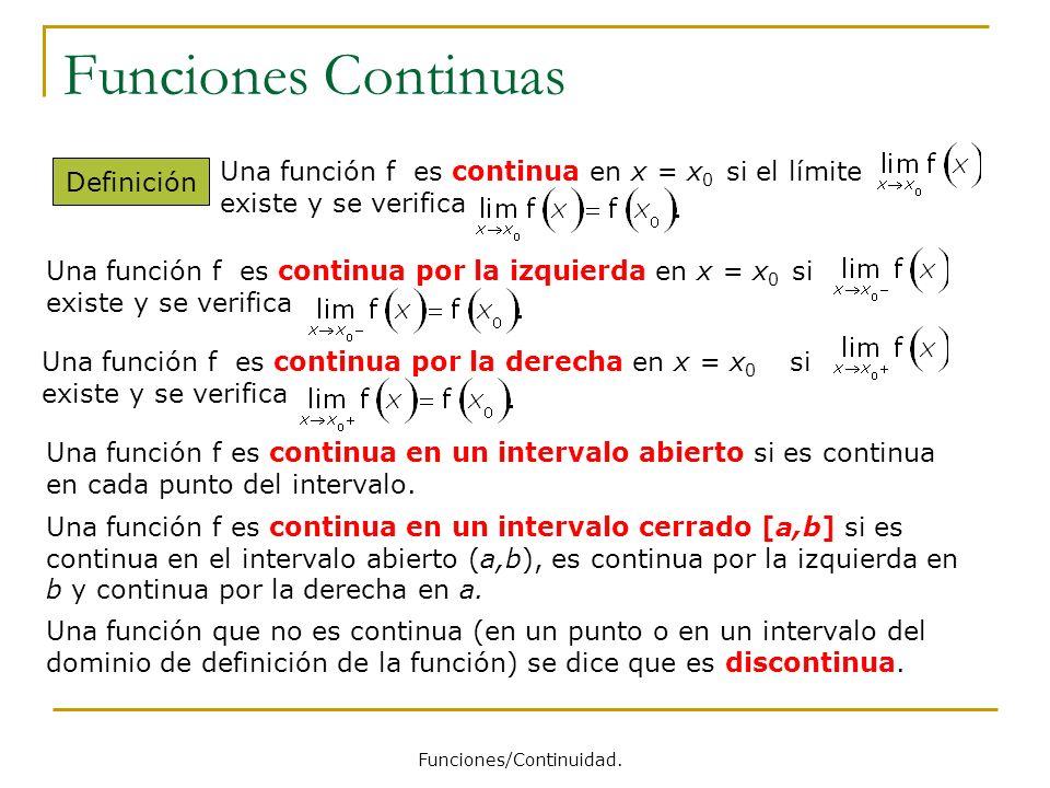 Funciones Continuas Definición Una función que no es continua (en un punto o en un intervalo del dominio de definición de la función) se dice que es d