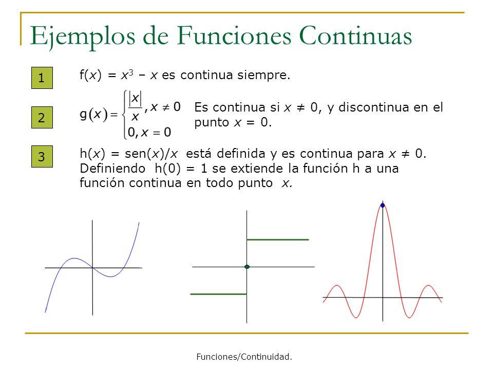Ejemplos de Funciones Continuas 1 f(x) = x 3 – x es continua siempre. 2 Es continua si x 0, y discontinua en el punto x = 0. 3 h(x) = sen(x)/x está de