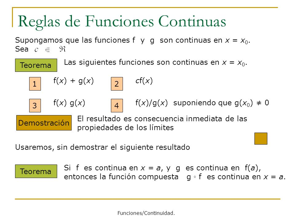 Reglas de Funciones Continuas Supongamos que las funciones f y g son continuas en x = x 0. Sea Teorema Las siguientes funciones son continuas en x = x