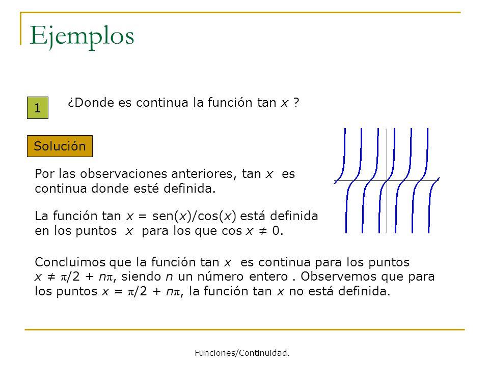 Ejemplos 1 ¿Donde es continua la función tan x ? Solución Por las observaciones anteriores, tan x es continua donde esté definida. La función tan x =