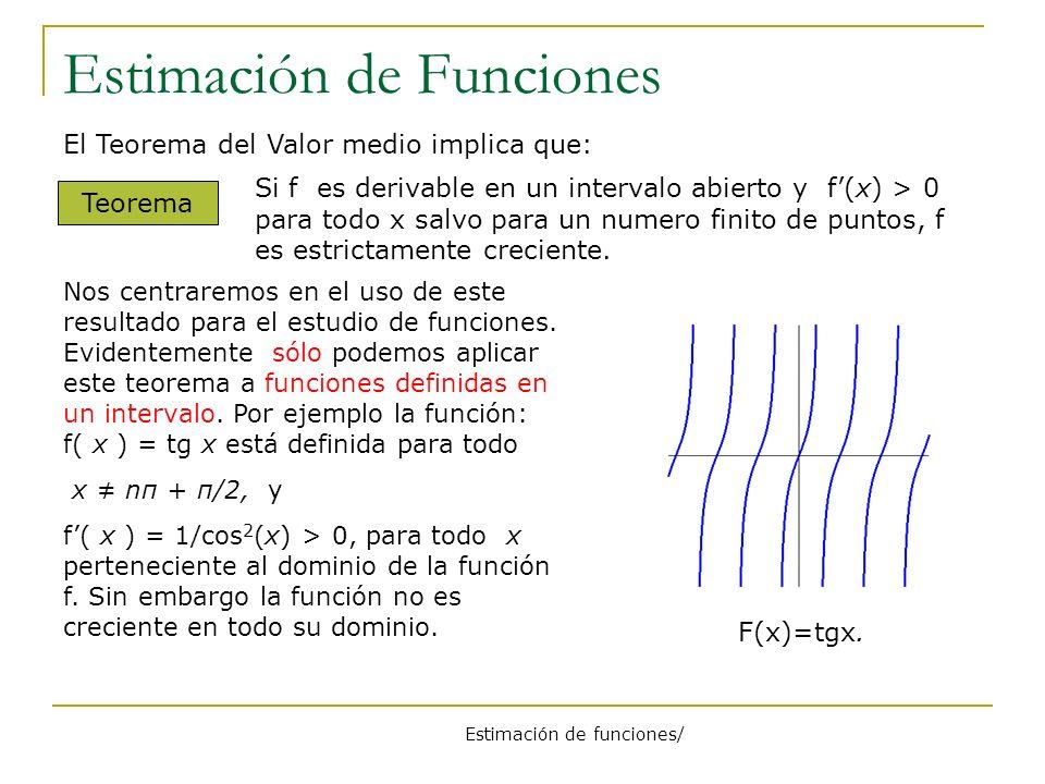 Estimación de Funciones El Teorema del Valor medio implica que: Teorema Si f es derivable en un intervalo abierto y f(x) > 0 para todo x salvo para un