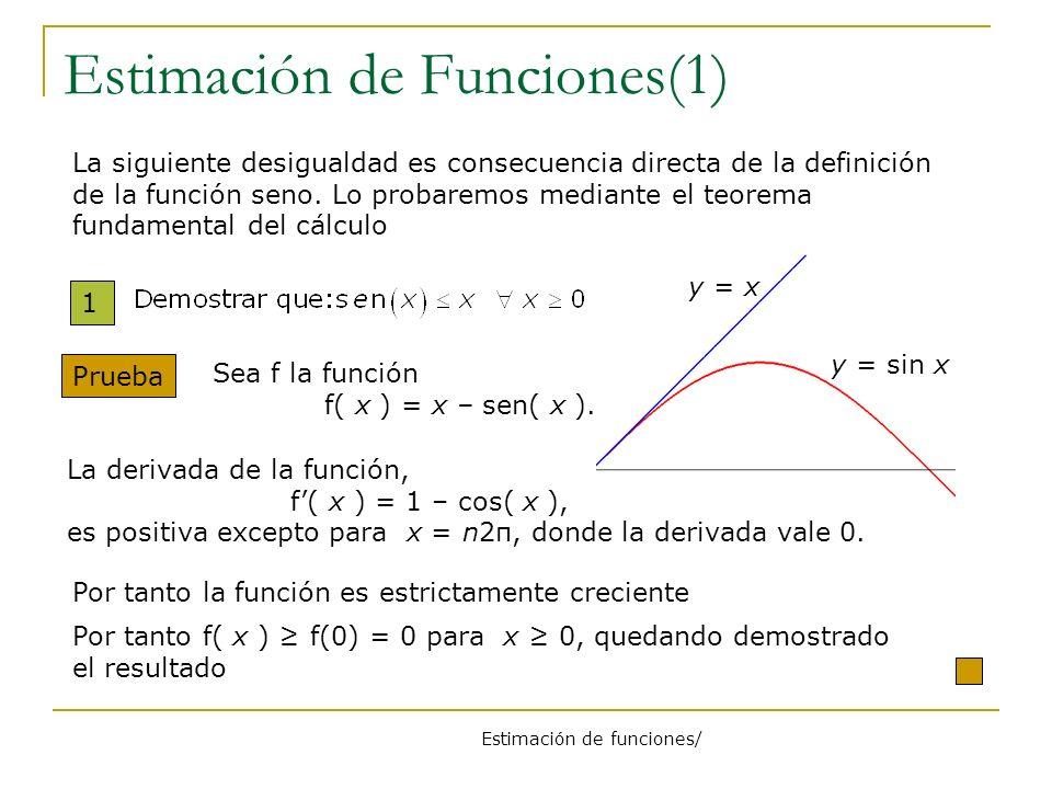 Estimación de funciones/ Estimación de Funciones(1) 1 Prueba Por tanto f( x ) f(0) = 0 para x 0, quedando demostrado el resultado Sea f la función f(
