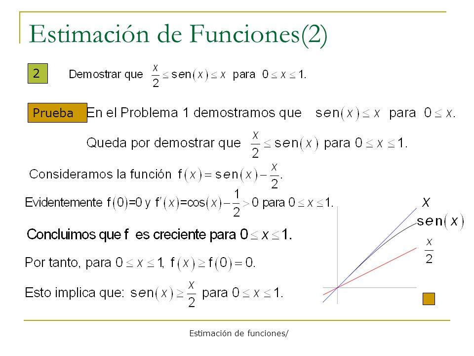 Estimación de funciones/ Estimación de Funciones (3) 3 Prueba Por último f( x ) f(0) = 0 para x 0.