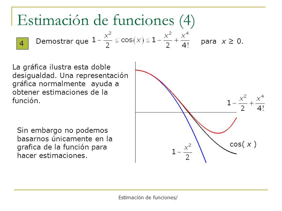 Estimación de funciones/ Estimación de funciones(5) 5 Prueba Demostrar que para x 0.Consideramos la función Probaremos que para x 0.