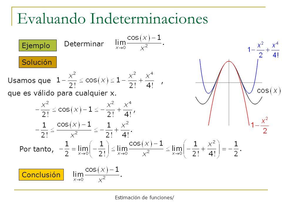 Estimación de funciones/ Evaluando Indeterminaciones Solución Ejemplo Conclusión Determinar Usamos que, que es válido para cualquier x. Por tanto,