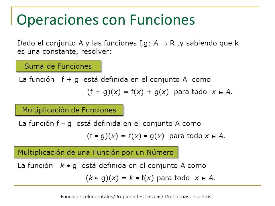 Operaciones con Funciones Suma de Funciones La función f + g está definida en el conjunto A como (f + g)(x) = f(x) + g(x) para todo x A. Dado el conju
