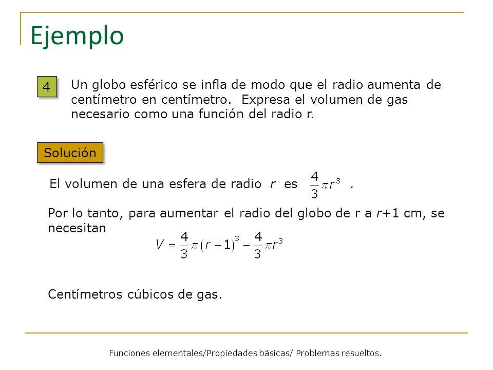 Ejemplo 4 4 El volumen de una esfera de radio r es. Solución Un globo esférico se infla de modo que el radio aumenta de centímetro en centímetro. Expr