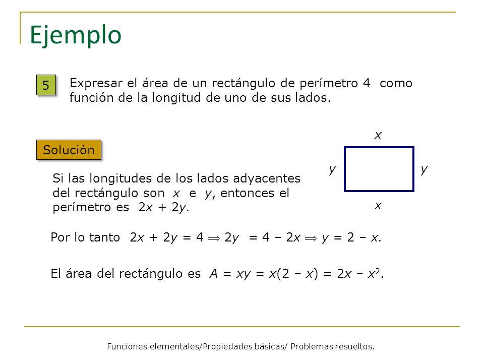 Ejemplo 5 5 Solución Expresar el área de un rectángulo de perímetro 4 como función de la longitud de uno de sus lados. x x yy Si las longitudes de los