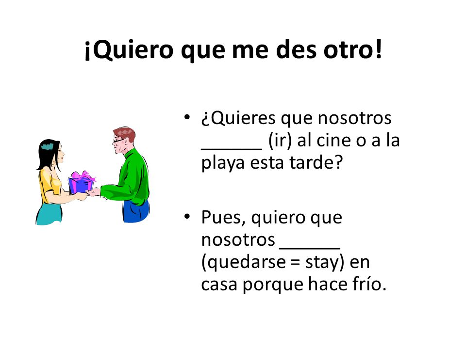 Quiero que tú vengas a las 3:00 en punto. – We use the subjunctive because there is a change in subject after a verb of desire (quiero).