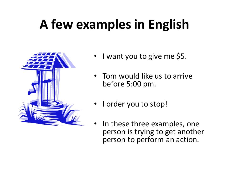A few examples in English I want you to give me $5.