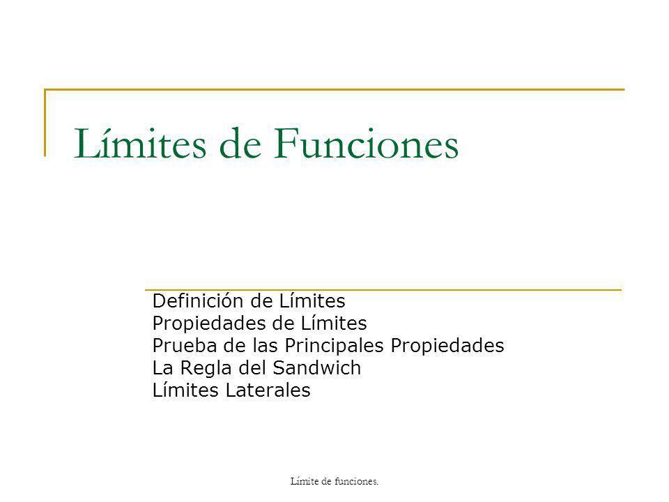 Límites de Funciones Definición Ejemplo Notación Una función f tiene límite L en un punto x 0 si los valores f(x) se aproximan a L cuando x tiende a x 0 sin llegar a serlo.