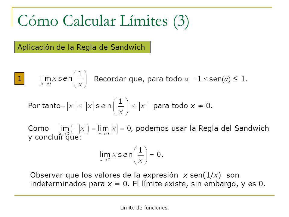 Límite de funciones. Cómo Calcular Límites (3) Aplicación de la Regla de Sandwich 1 Recordar que, para todo α, -1 sen (α) 1. Por tanto para todo x 0.