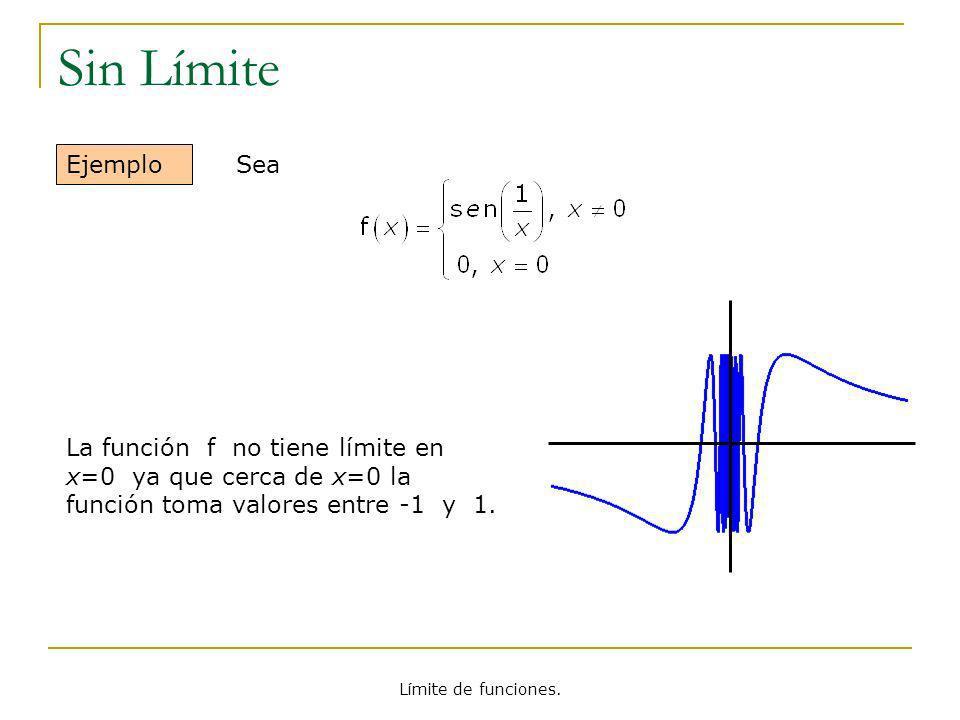 Límite de funciones. Sin Límite Ejemplo La función f no tiene límite en x=0 ya que cerca de x=0 la función toma valores entre -1 y 1. Sea