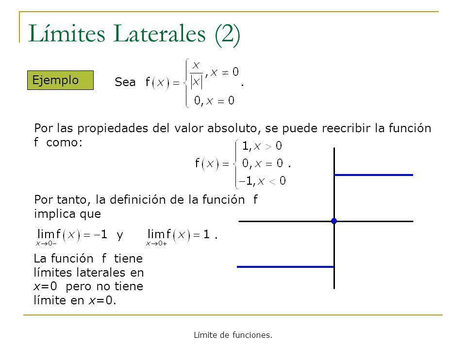 Límite de funciones. Límites Laterales (2) Ejemplo La función f tiene límites laterales en x=0 pero no tiene límite en x=0. Por tanto, la definición d