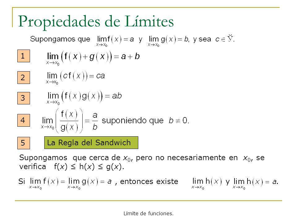 Límite de funciones. Propiedades de Límites 1 2 3 4 La Regla del Sandwich Si, entonces existe y Supongamos que cerca de x 0, pero no necesariamente en