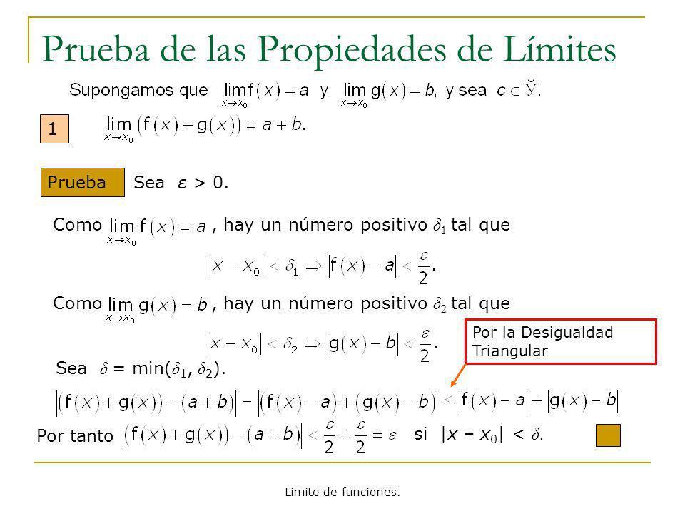Límite de funciones. Prueba de las Propiedades de Límites 1 Prueba Sea ε > 0. Como, hay un número positivo δ 1 tal que Como, hay un número positivo δ