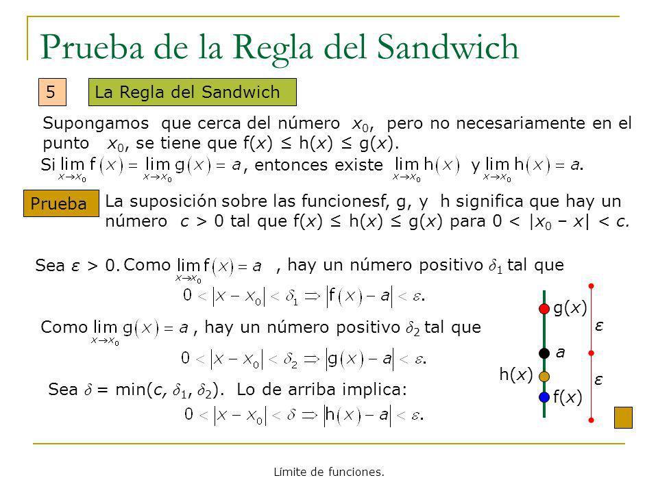 Límite de funciones. Prueba de la Regla del Sandwich 5La Regla del Sandwich Prueba Sea ε > 0.Como, hay un número positivo δ 1 tal que Si, entonces exi