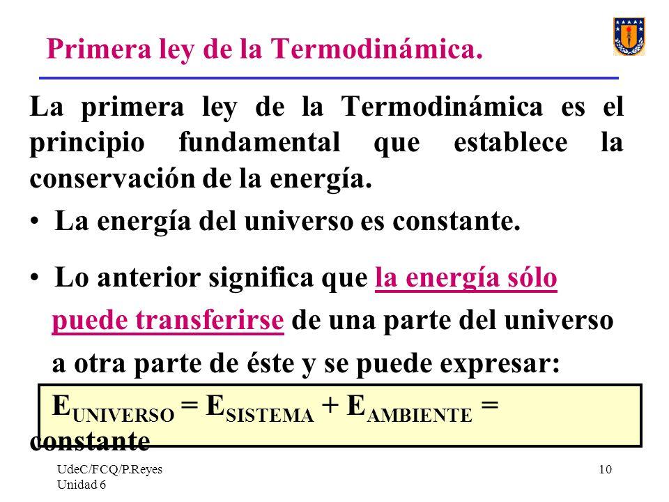 UdeC/FCQ/P.Reyes Unidad 6 10 Primera ley de la Termodinámica. La primera ley de la Termodinámica es el principio fundamental que establece la conserva
