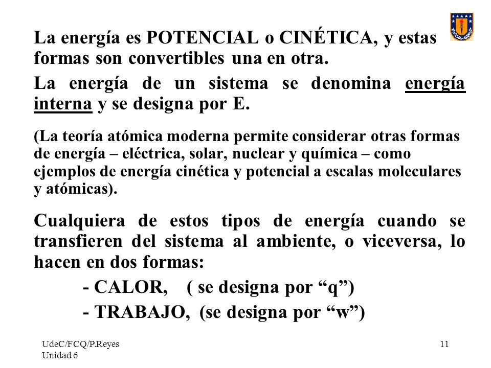 UdeC/FCQ/P.Reyes Unidad 6 11 La energía es POTENCIAL o CINÉTICA, y estas formas son convertibles una en otra. La energía de un sistema se denomina ene