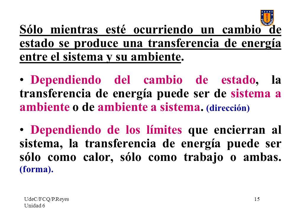 UdeC/FCQ/P.Reyes Unidad 6 15 Sólo mientras esté ocurriendo un cambio de estado se produce una transferencia de energía entre el sistema y su ambiente.