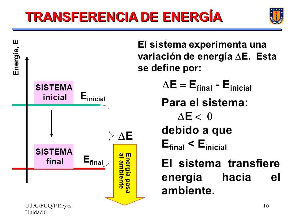 UdeC/FCQ/P.Reyes Unidad 6 16 Energía pasa al ambiente TRANSFERENCIA DE ENERGÍA Energía, E SISTEMA inicial SISTEMA final E inicial E final E E final -