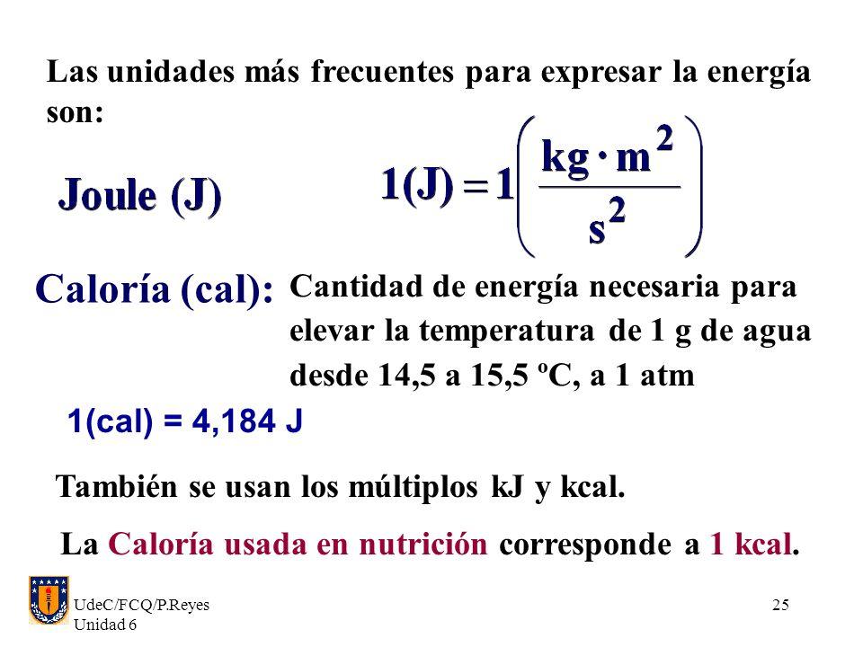 UdeC/FCQ/P.Reyes Unidad 6 25 Caloría (cal): Cantidad de energía necesaria para elevar la temperatura de 1 g de agua desde 14,5 a 15,5 ºC, a 1 atm 1(ca
