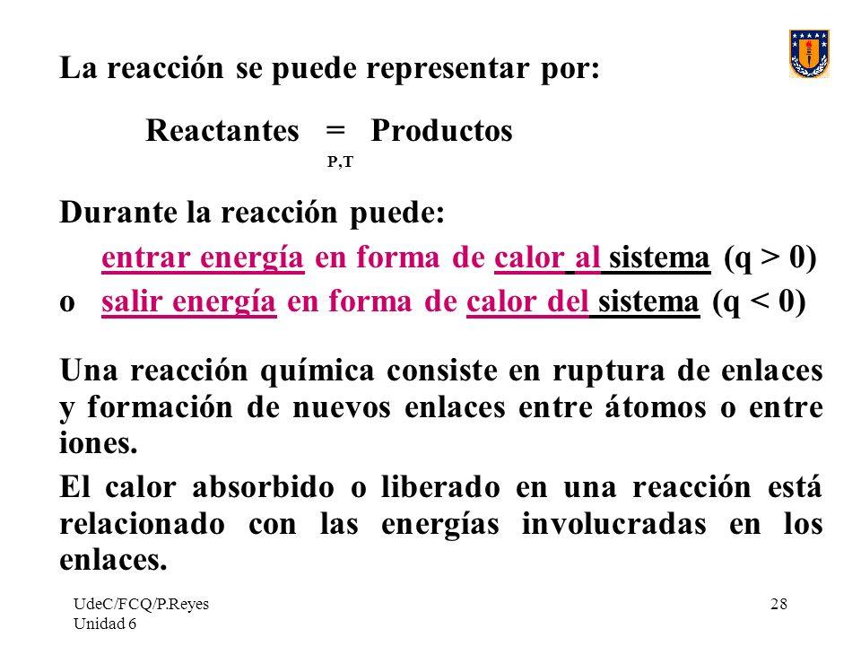 UdeC/FCQ/P.Reyes Unidad 6 28 La reacción se puede representar por: Reactantes = Productos P,T Durante la reacción puede: entrar energía en forma de ca