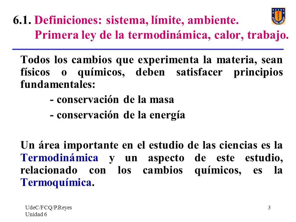 UdeC/FCQ/P.Reyes Unidad 6 14 CAMBIO DE ESTADO de un sistema: se define dando dos estados de un sistema tales que ellos difieran en al menos una propiedad.
