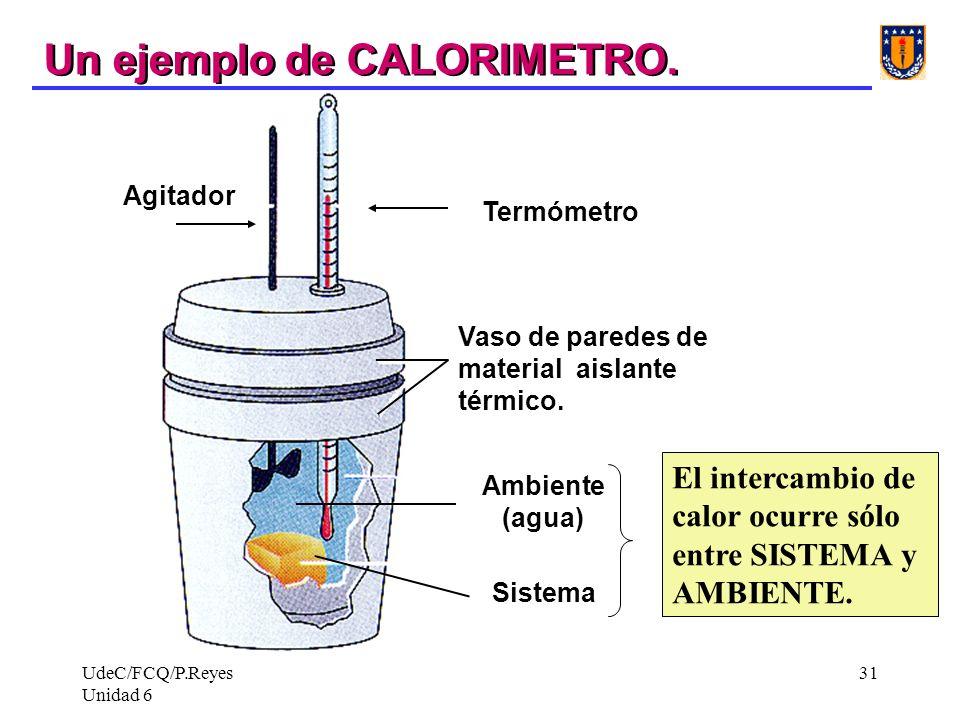 UdeC/FCQ/P.Reyes Unidad 6 31 Termómetro Agitador Sistema Ambiente (agua) Vaso de paredes de material aislante térmico. Un ejemplo de CALORIMETRO. El i