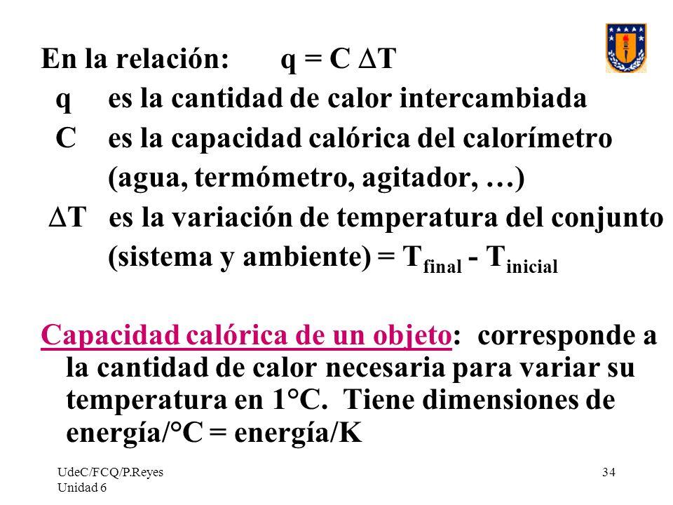 UdeC/FCQ/P.Reyes Unidad 6 34 En la relación: q = C T q es la cantidad de calor intercambiada C es la capacidad calórica del calorímetro (agua, termóme