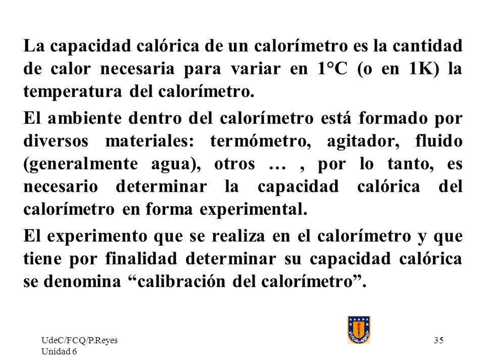 UdeC/FCQ/P.Reyes Unidad 6 35 La capacidad calórica de un calorímetro es la cantidad de calor necesaria para variar en 1°C (o en 1K) la temperatura del