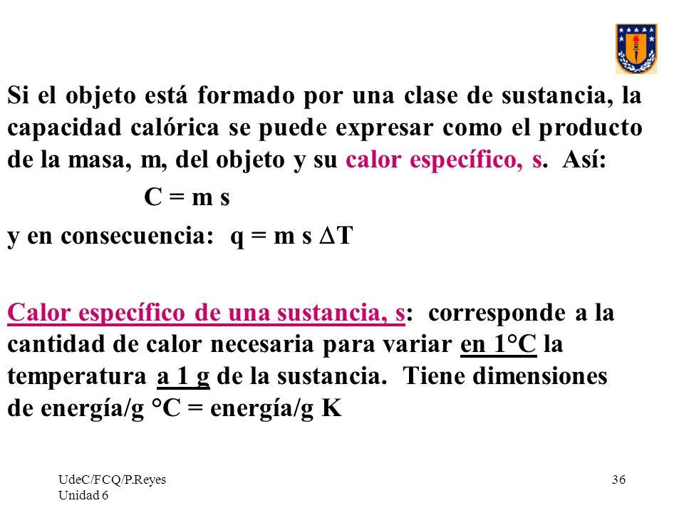 UdeC/FCQ/P.Reyes Unidad 6 36 Si el objeto está formado por una clase de sustancia, la capacidad calórica se puede expresar como el producto de la masa