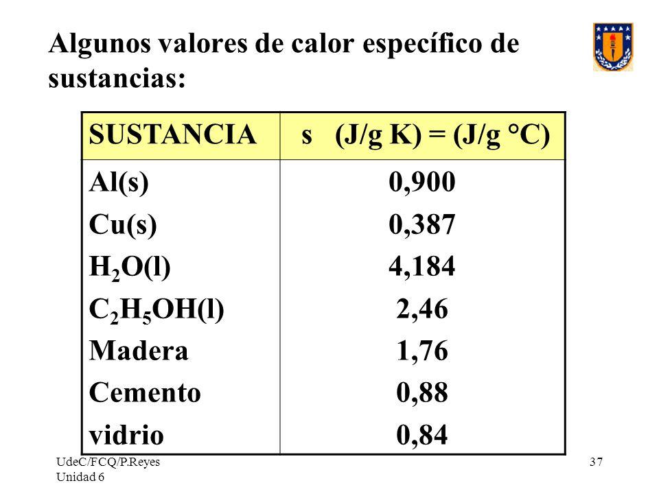 UdeC/FCQ/P.Reyes Unidad 6 37 Algunos valores de calor específico de sustancias: SUSTANCIA s (J/g K) = (J/g °C) Al(s) Cu(s) H 2 O(l) C 2 H 5 OH(l) Made