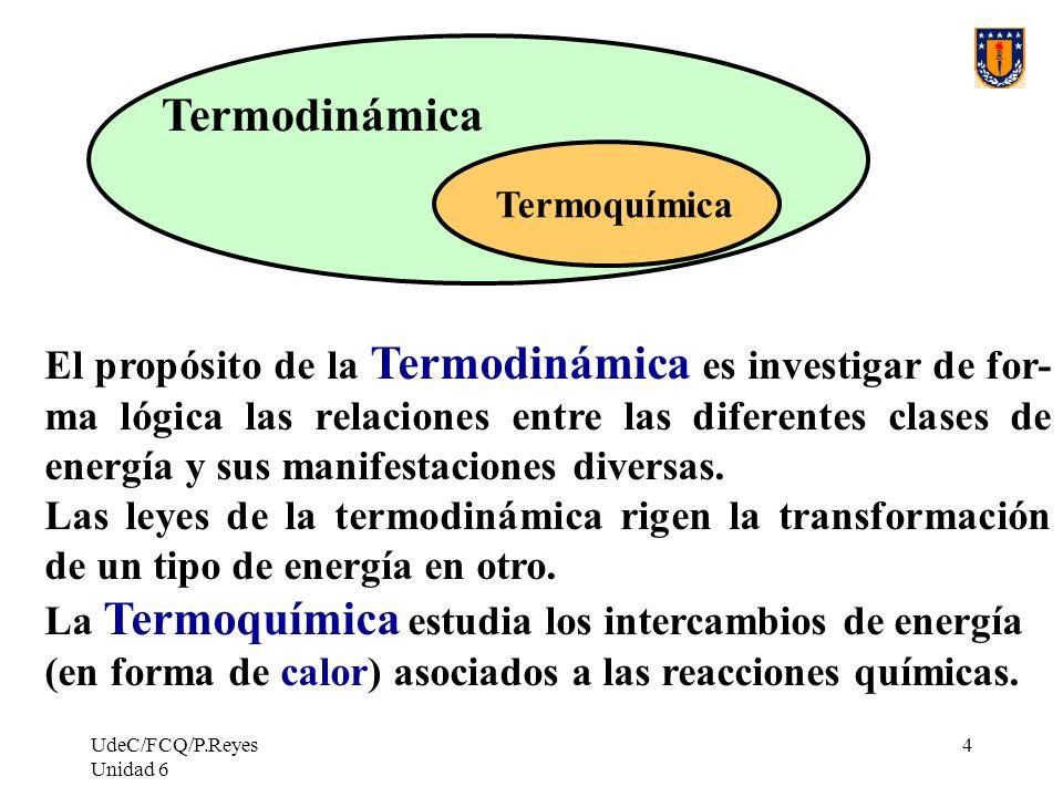 UdeC/FCQ/P.Reyes Unidad 6 4 Termoquímica Termodinámica El propósito de la Termodinámica es investigar de for- ma lógica las relaciones entre las difer