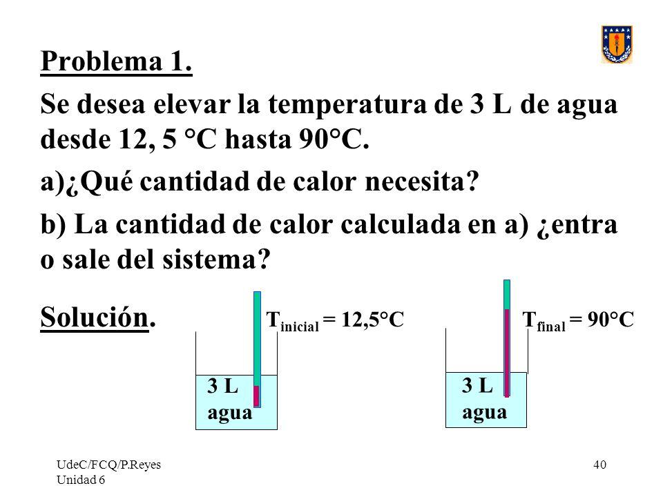 UdeC/FCQ/P.Reyes Unidad 6 40 Problema 1. Se desea elevar la temperatura de 3 L de agua desde 12, 5 °C hasta 90°C. a)¿Qué cantidad de calor necesita? b