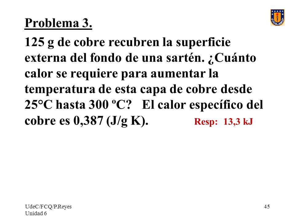 UdeC/FCQ/P.Reyes Unidad 6 45 Problema 3. 125 g de cobre recubren la superficie externa del fondo de una sartén. ¿Cuánto calor se requiere para aumenta
