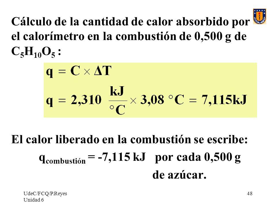 UdeC/FCQ/P.Reyes Unidad 6 48 Cálculo de la cantidad de calor absorbido por el calorímetro en la combustión de 0,500 g de C 5 H 10 O 5 : El calor liber